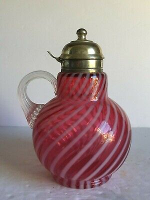Vintage Fenton Glass for LG Wright Opal Cranberry Swirl Spiral Syrup Pitcher