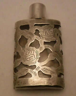 """STERLING SILVER over GLASS PERFUME BOTTLE SCENT FLASK LHM 2 7/8"""" Mexico VINTAGE"""