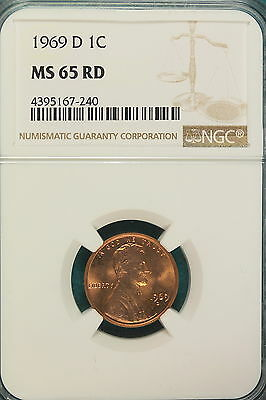 1969-D NGC MS65 RED Lincoln Memorial Cent!!! #A6792