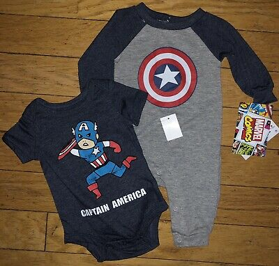 Captain America Boys 0 3 12 18 Months Two Piece Set Outfit Romper Shirt Marvel