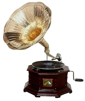 Replica Gramophone Player 78 rpm Embossed Round phonograph Brass Horn Vintage
