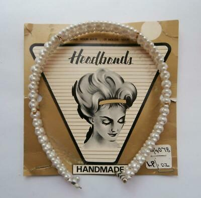 BN Vintage 1950's Faux-Pearl Sprung Hairband on Card Tiara  Deadstock