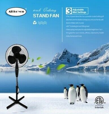 ALL FOR YOU 16 Inch Pedestal Fan with 90 Degree Oscillation, 3 Speed Settings