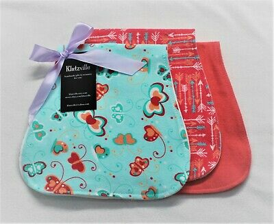 Aqua & Coral Butterflies Arrows Cotton Flannel Burp Cloth Set of 3 -Personalized