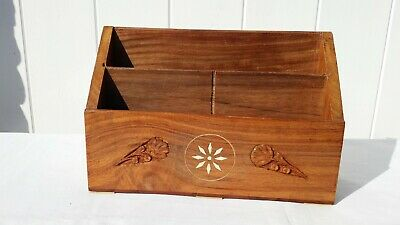 Inlaid Wooden Letter Rack With Floral Carving, 23 Cm X 7.5 Cm, 15 Cm High.