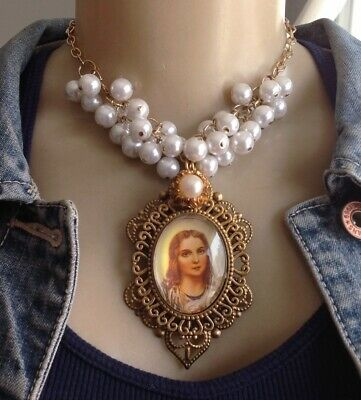 Saint Catherine Necklace Huge Religious Portrait Medal Pendant W/ Bauble Pearls