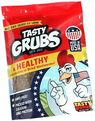 Tasty Grubs Dried Black Soldier Fly Larvae Hen, Bearded Dragon, Koi, Treats