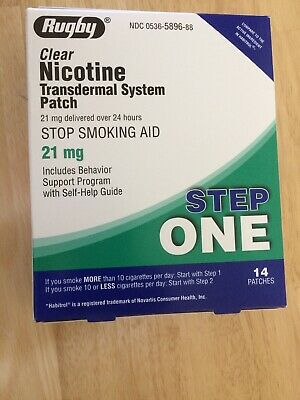 NEW Rugby Clear Step 1 Nicotine Patch System - 21 mg 14 Patches Exp 02/21