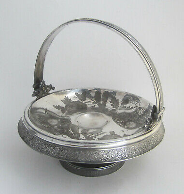Antique Aesthetic Movement Silver Plate Brides Basket Dragonfly Flowers Meriden