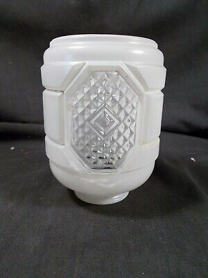 Vintage Art Deco White to Clear Ribbed Shade for Porcelain Bathroom Wall Sconce