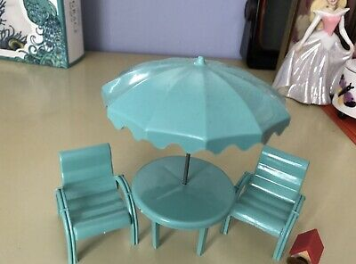"Marx PATIO UMBRELLA TABLE CHAIR SET Vint Doll House Furniture 3/4"" 1:16 Renwal"
