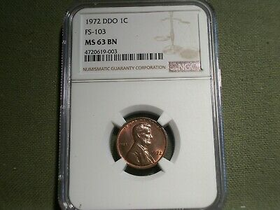 1972 Lincoln Cent NGC MS63 BN DDO FS-103 Double Die Obverse