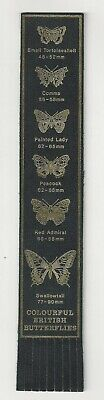 # Colourful British Butterflies. Black Leather English Bookmark.