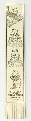 # Chia-Chia and Ching- Ching London Zoo. Cream Leather English Bookmark.