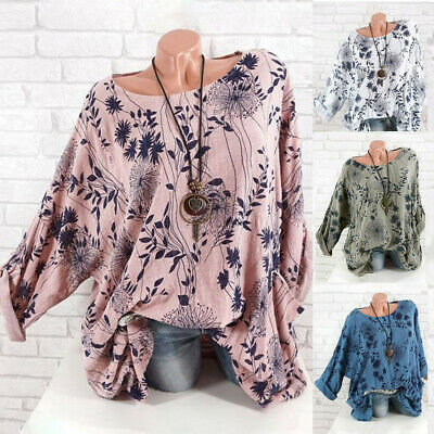 Grande Taille Femme Decontracte Loose Round Collar Manches Longues Blouse Tops
