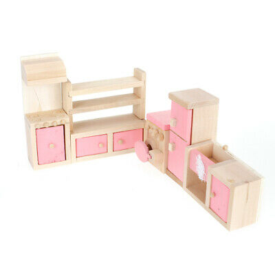 Pink Dollhouse Miniature Kitchen Furniture Cabinet Set Wooden Pretend Toy