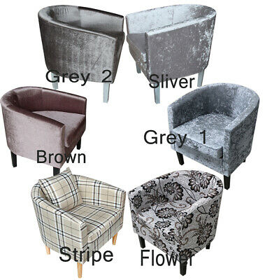Crushed Velvet/Fabric Tub Chair Armchair Home Cafe Bedroom Living Room Chair