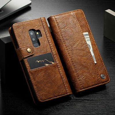 Vintage Leather Wallet Case Shockproof Cover for Samsung Galaxy S7 S8 S10 Note 9