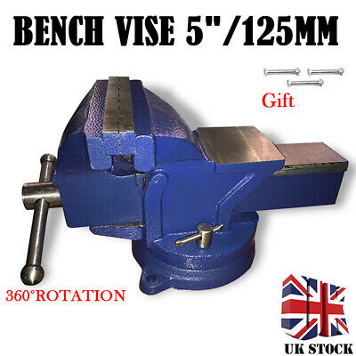 """5"""" 125mm Jaw Bench Vice Heavy Duty Workshop Swivel Base Clamp Cast Iron Vise NEW"""
