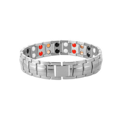 Magnetic Therapy Bracelet Bio Healing Adjustable For Men Wristband Silver HS1301