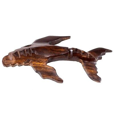 "Hand Carved Wood Wooden Ironwood Humpback Whale Figurine 3.5"" Long Made In USA"