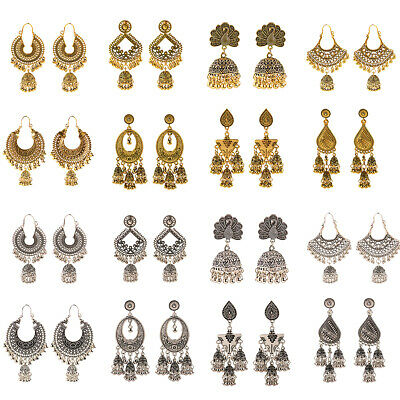 Vintage Gold Silver Engrave Ethnic Bell Jhumka Dangle Drop Womens Gypsy Earrings