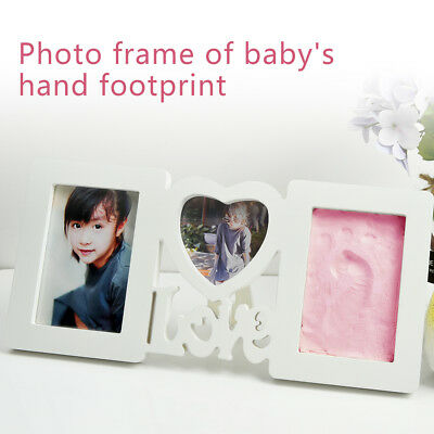 Baby Hand & Foot Print Clay Cast Kit & 3 Photo Picture Frame Christening Gift