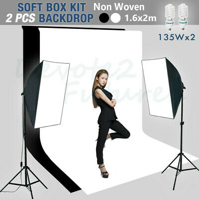 1350W Studio Softbox Continuous Lighting Equipment Kit with Black White Backdrop