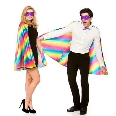 Super Héros Cape + Masque Ensemble Adultes Arc-En-Ciel Multicolore Déguisement