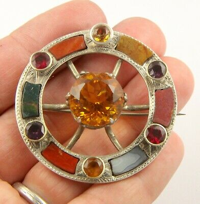 Large antique Victorian c1890 silver Scottish agate Cairngorm citrine brooch pin