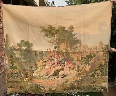 Antique French Tapestry Wall Hanging Aubusson Style - 140 X 160 Cm