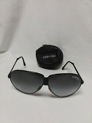 a4f0cc4e24 Vintage 80 S Ferrari Aviator Folding Sunglasses Black Frames W  Blk Zipper  Case