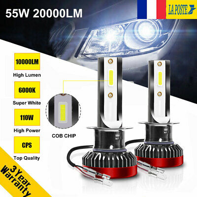 Taille Mini 110W 20000LM H1 Globe LED Ampoule Voiture Feux Lampe Kit Phare 6000K