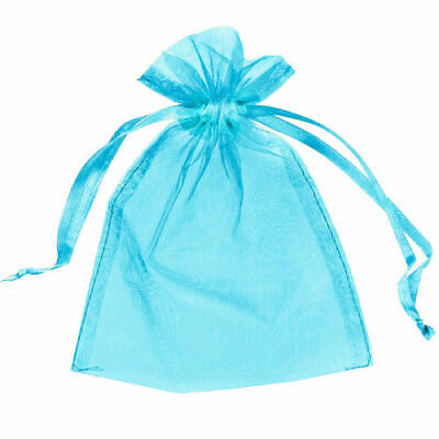 50 Small 7Cm X 9Cm Luxury Aqua Organza Gift Bags Wedding Favour Sweet Bags Uk