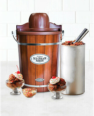 Nostalgia Old-Fashioned 6-Quart Wood Bucket Ice Cream Maker + Recipe Book