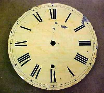 """Large Antique  11 1/2""""  Round Clock Dial - Painted on Metal - 3 Back Posts"""