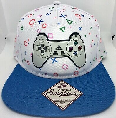outlet store 10123 270be Sony Playstation Controller White Blue Adjustable Snapback Bioworld Hat Cap  NWT