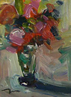 Jose Trujillo Roses Red Pink Oil Painting Glass Floral Impasto Textures Signed