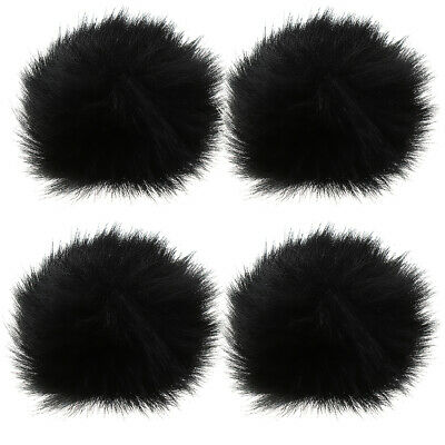 4x Black Outdoor Microphone Windscreen Wind Muff Furry Cover for Lapel Mic
