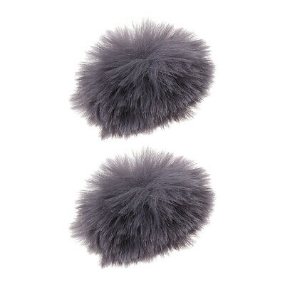2x Gray Outdoor Microphone Windscreen Wind Muff Furry Cover for Lapel Mic