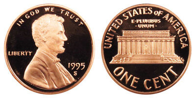 1995 S GEM BU PROOF Lincoln MemoriaL BRILLIANT UNCIRCULATED PENNY US COIN PF