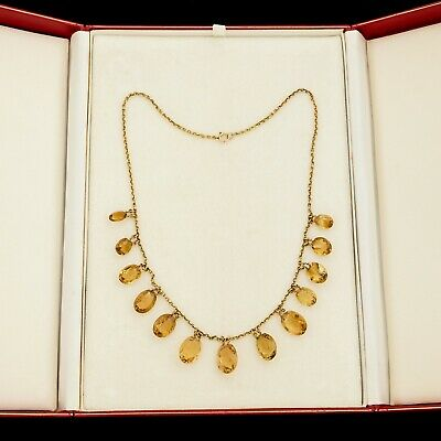 Antique Vintage Nouveau 18k Yellow Gold Madeira Citrine Riviere Festoon Necklace