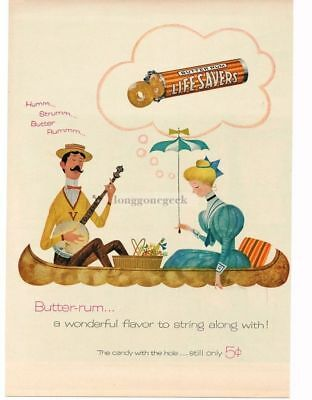 1955 LIFE SAVERS Butter Rum Banjo Player & Woman Canoe Gay NinetiesVTG PRINT AD