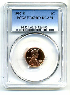 Pcgs Pf69 Rd Deep Cameo 1997 S Lincoln Proof Dcam Gem Bu 1C Cent Penny Coin#3351