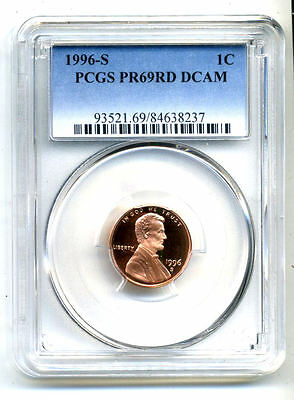 Pcgs Pf69 Rd Deep Cameo 1996 S Lincoln Proof Dcam Gem Bu 1C Cent Penny Coin#3355