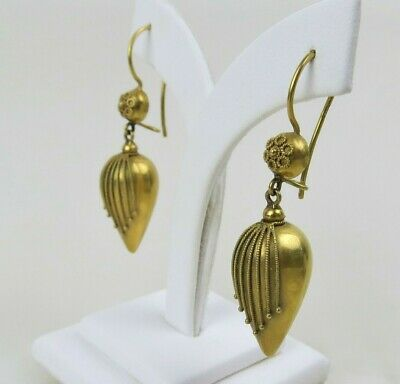 Antique Victorian Etruscan earrings 15k yellow gold Edwardian