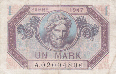 1 Mark  Fine Banknote From Saar/French Occupied Germany 1947!Pick-3!Rare