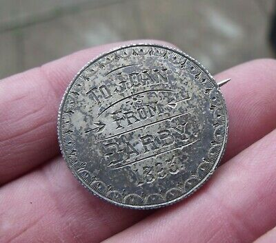 Antique Silver 1893 Two Shilling Love Token Coin Brooch To Joan From Darby.