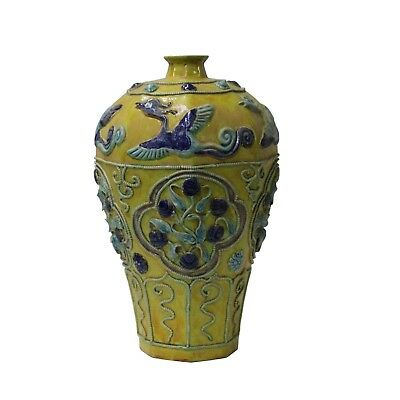 Handmade Ceramic Yellow Dimensional Flower Bird Vase Jar cs4654