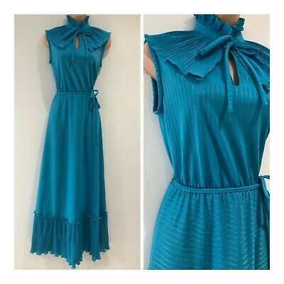 Vintage 70s Turquoise Blue Bertha Collar Tie Beck Belted Boho Maxi Dress Size 10